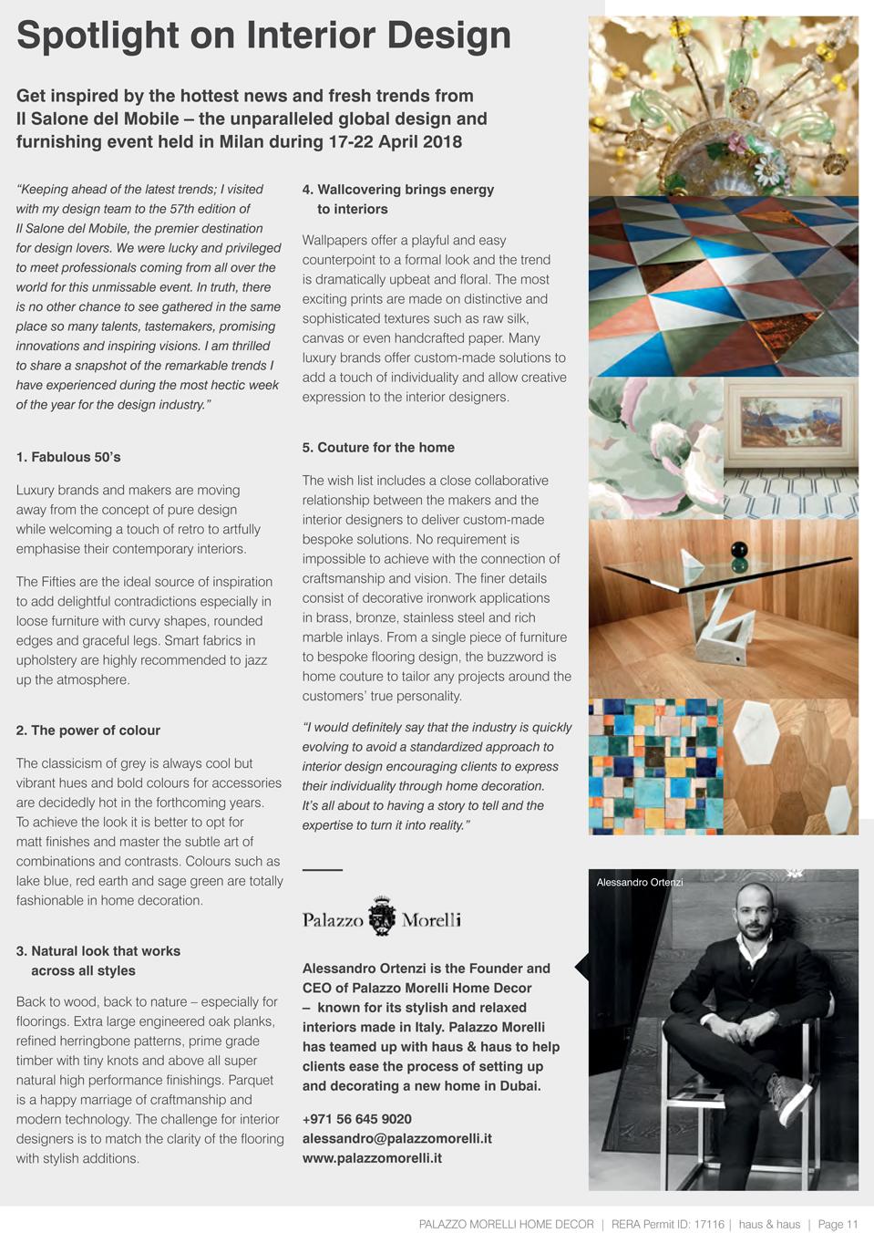 Spotlight on interior design palazzo morelli for Newspaper articles on interior design